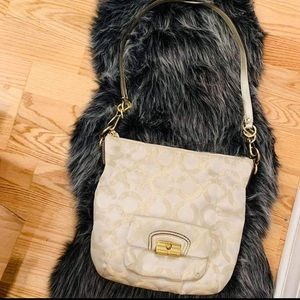 COACH brand new taupe gold/ pink crossbody